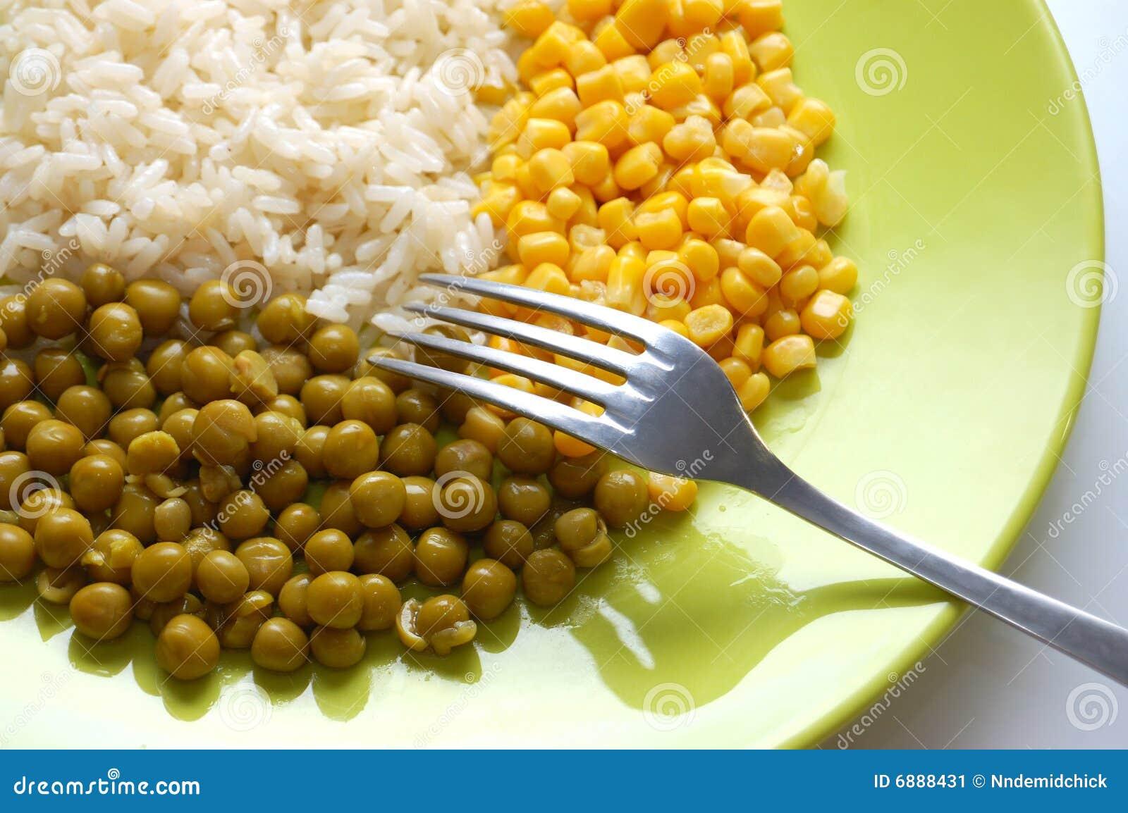 Vegetarian food rice green peas and corn royalty free - Green vegetarian cuisine ...