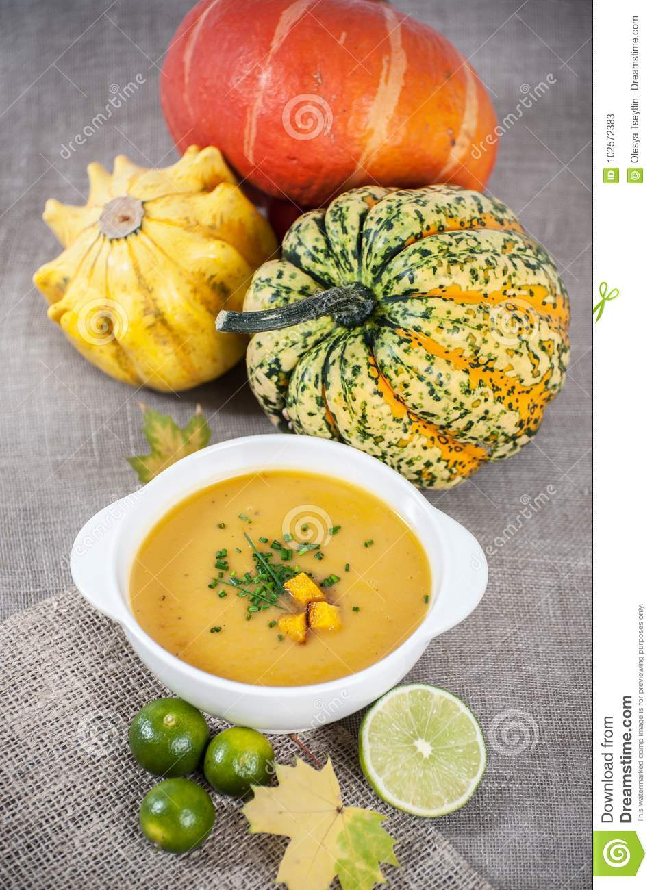 vegetarian jamaican pumpkin soup with lime and nutmeg