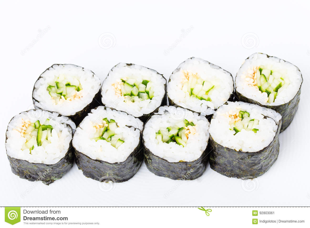 Vegetarian Japanese Sushi Roll With Cucumber Stock Image