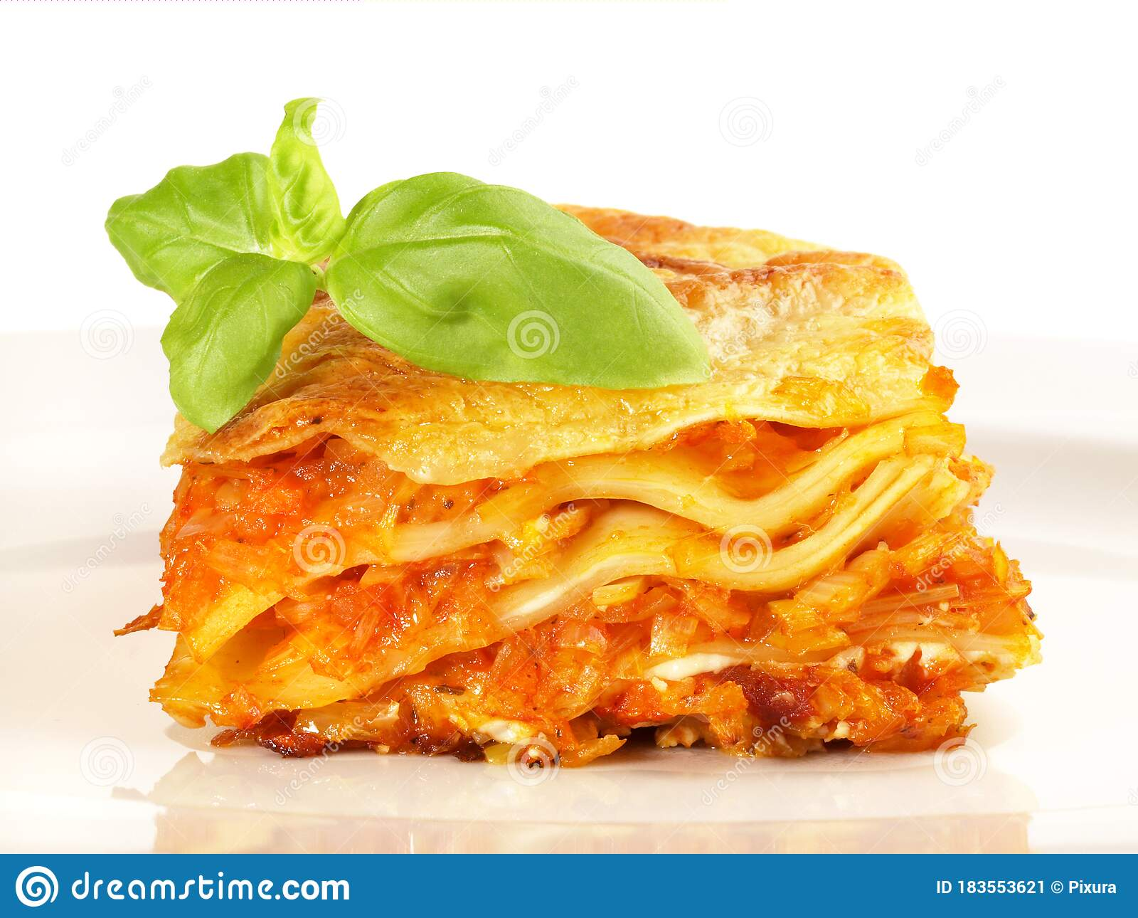 Vegetarian Vegetable Lasagne With Isolated On White Background Stock Image Image Of Food Cream 183553621