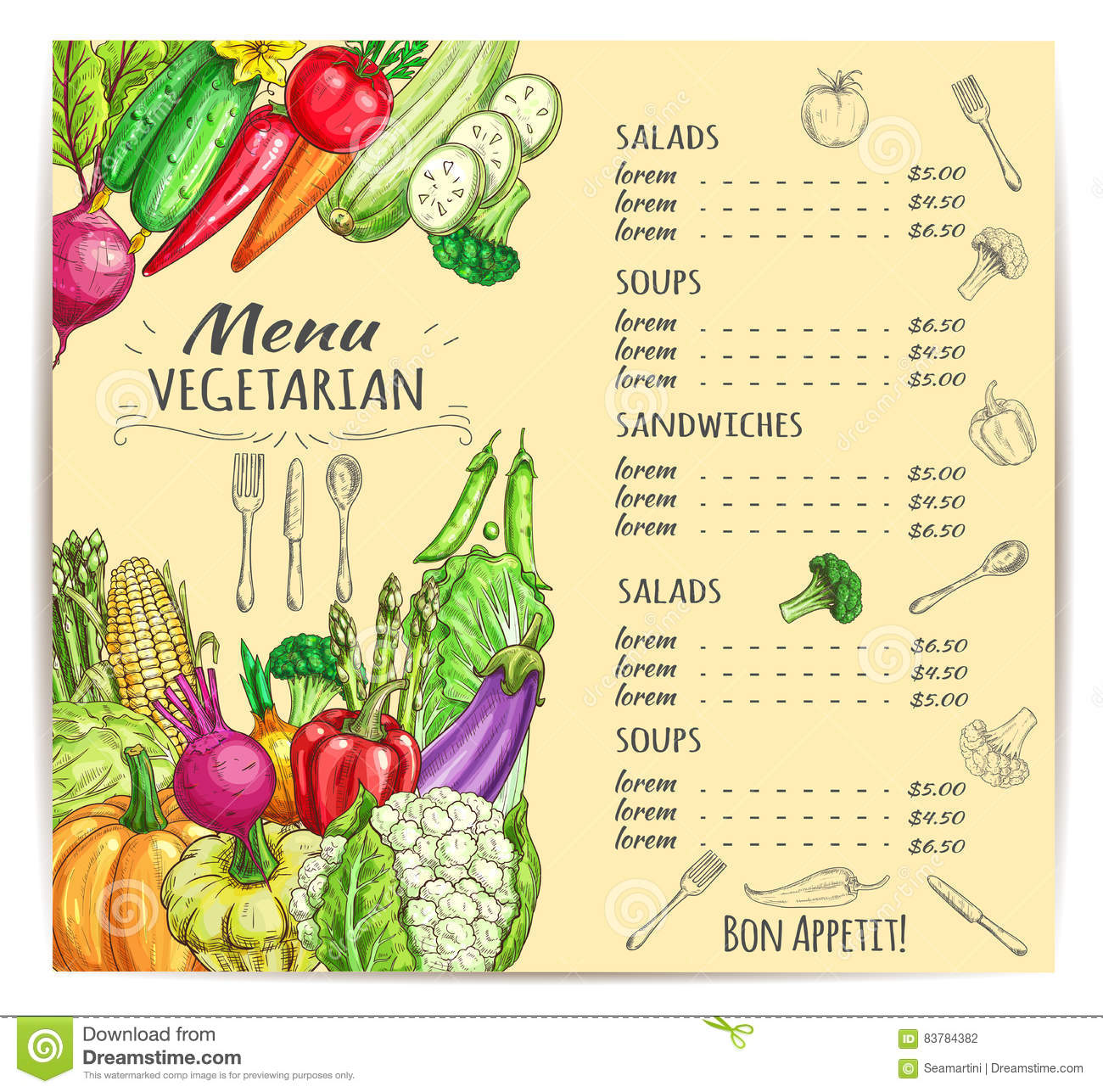 vegetarian menu template design with vegetables stock vector