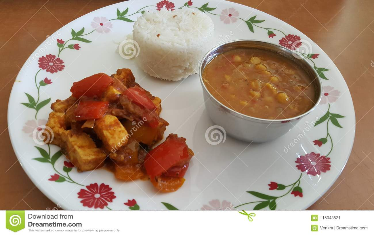 North Indian Food In A Plate Stock Image Image Of