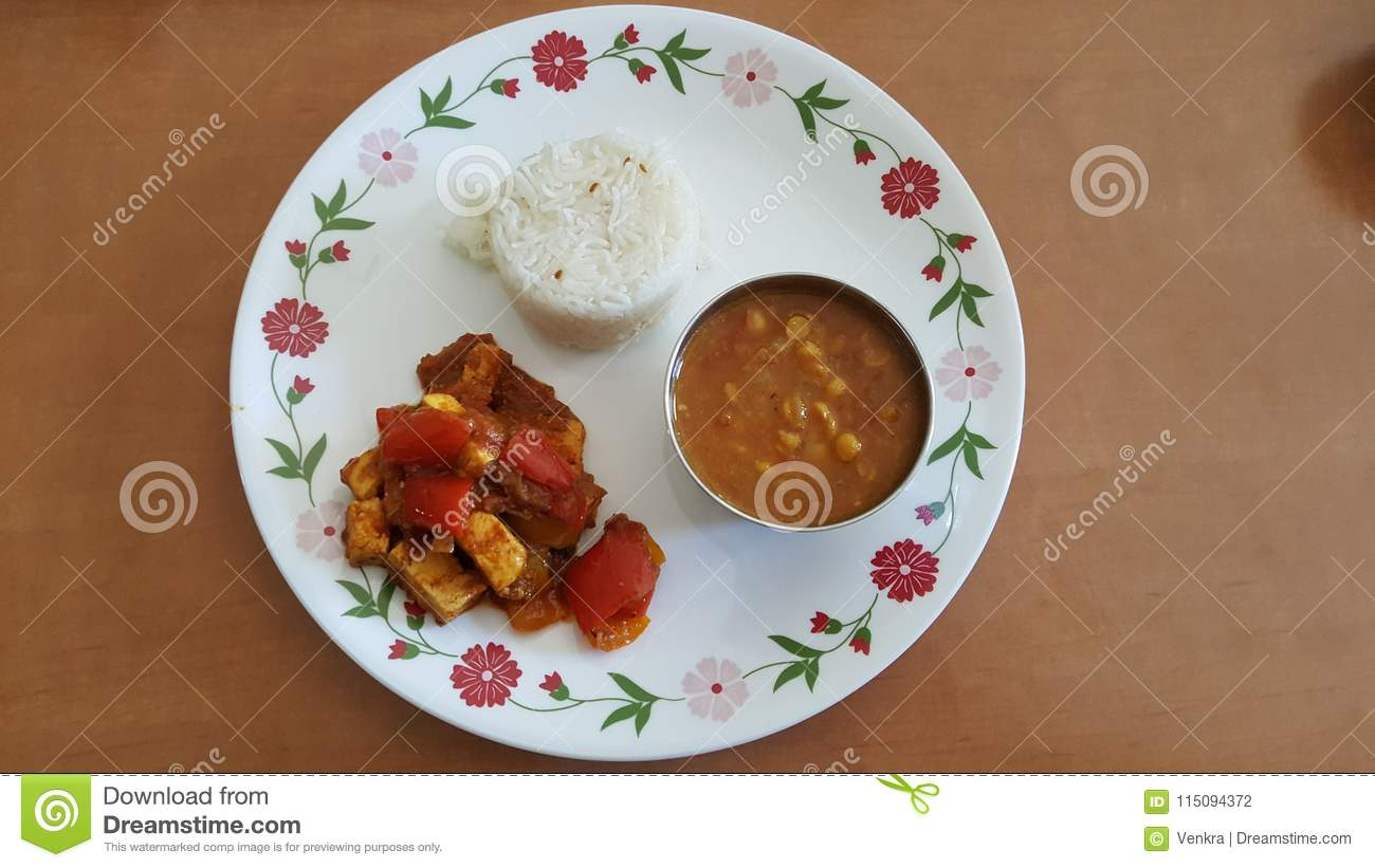 North Indian Food In A Plate Stock Photo Image Of Lunch