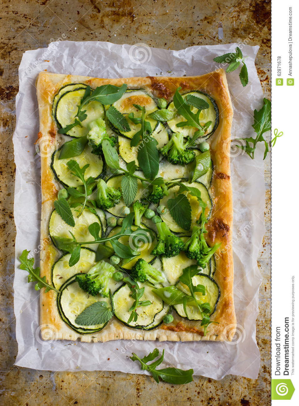 Vegetarian Puff Pie With Zucchini, Broccoli And Green Peas. Stock ...