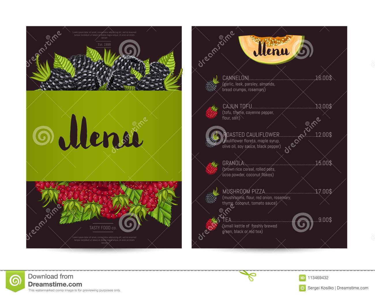 Vegetarian Restaurant Food Menu Design Stock Illustration Illustration Of Nature Menu 113469432