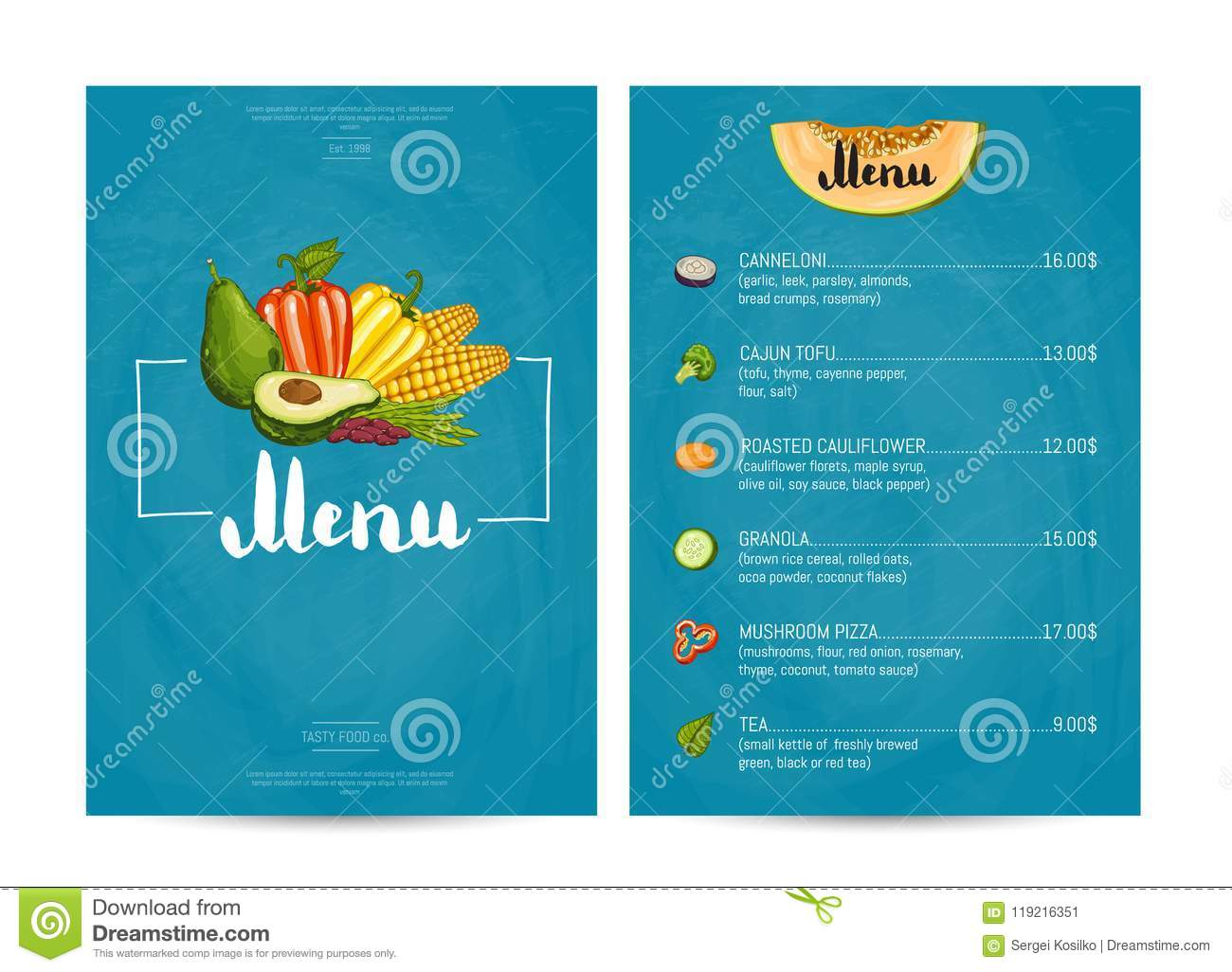 Vegetarian Restaurant Food Menu Design Stock Illustration Illustration Of Nature Banner 119216351