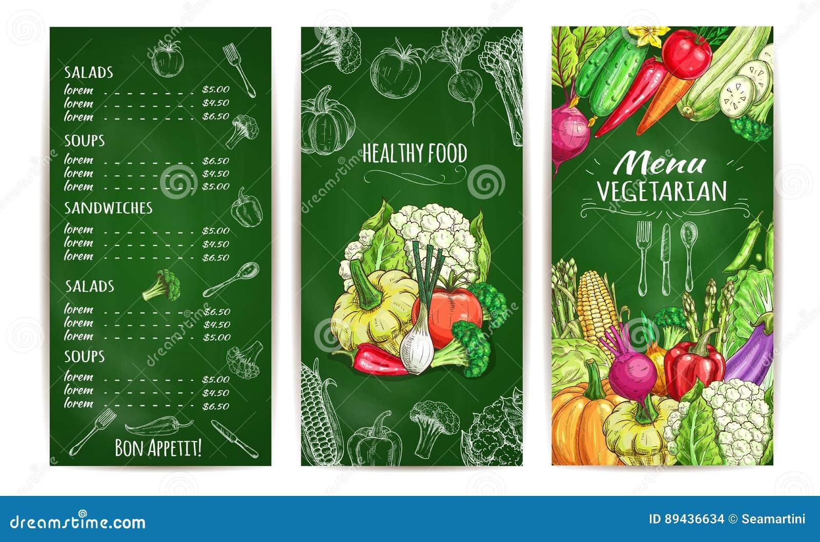 vegetarian restaurant menu template on chalkboard stock