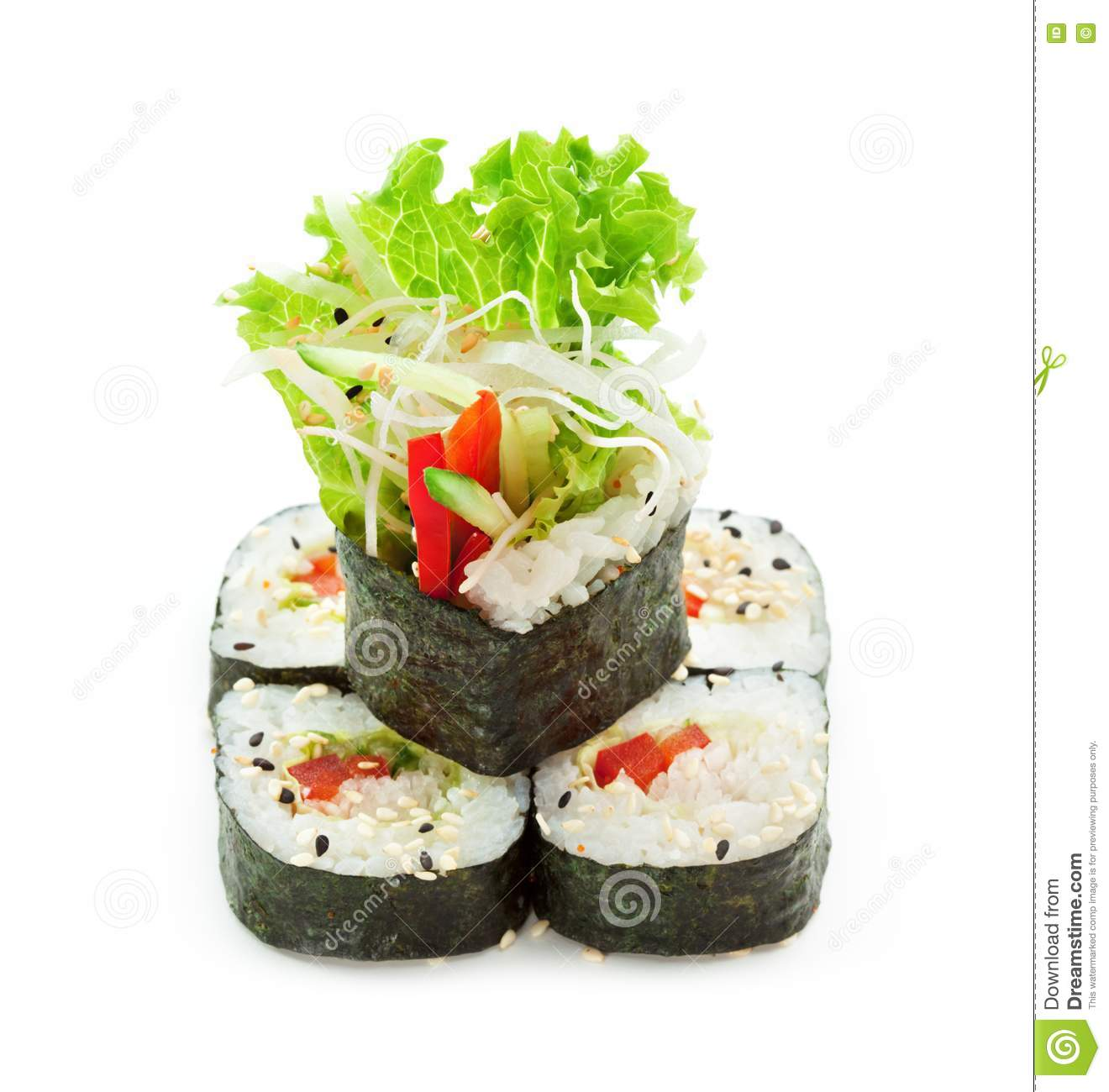 ... roll made of cucumber bell pepper salad leaf and daikon white radish