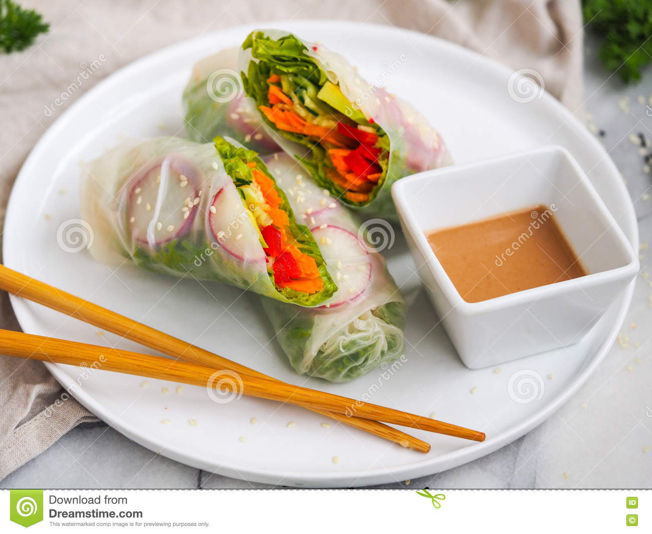 Vegetarian Roll Stock Photo Image Of Rice Decoration 77589274