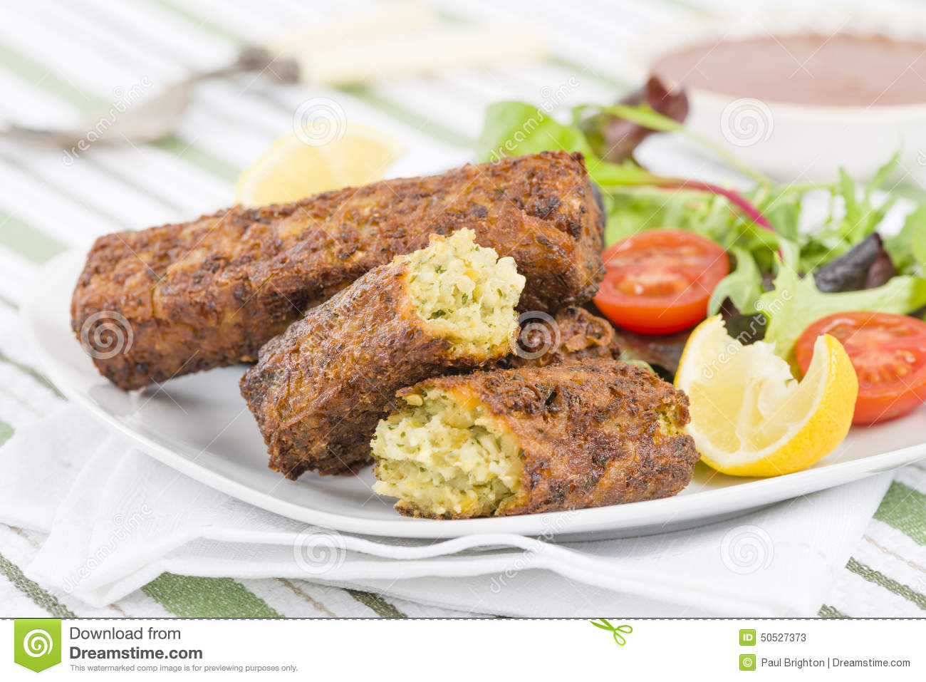 Vegetarian Sausage - Bubble and squeak sausages with salad and chili ...