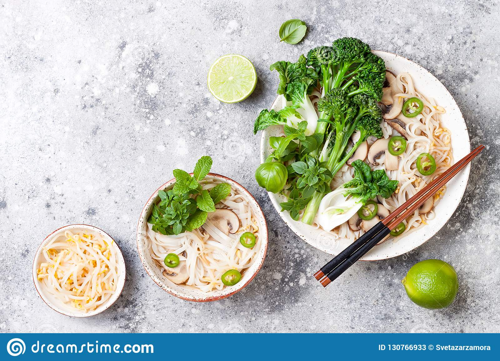 Vegetarian Traditional Vietnamese Soup Pho Bo With Herbs, Rice