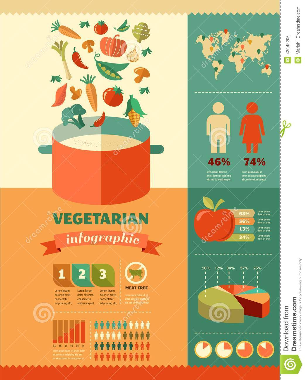 Vegetarian And Vegan Healthy Organic Infographic Stock