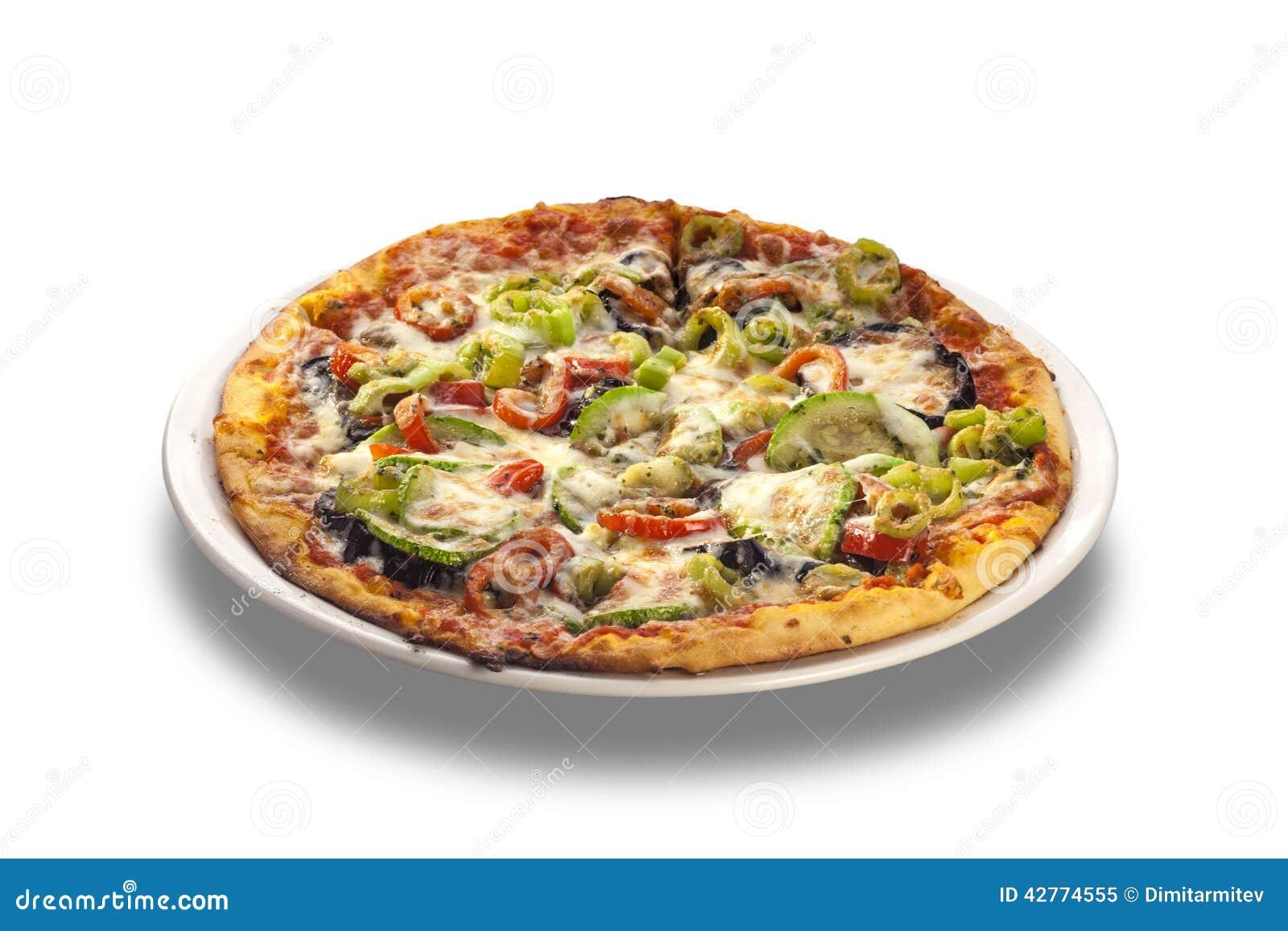 Vegetariano di verdure della pizza su fondo bianco isolato