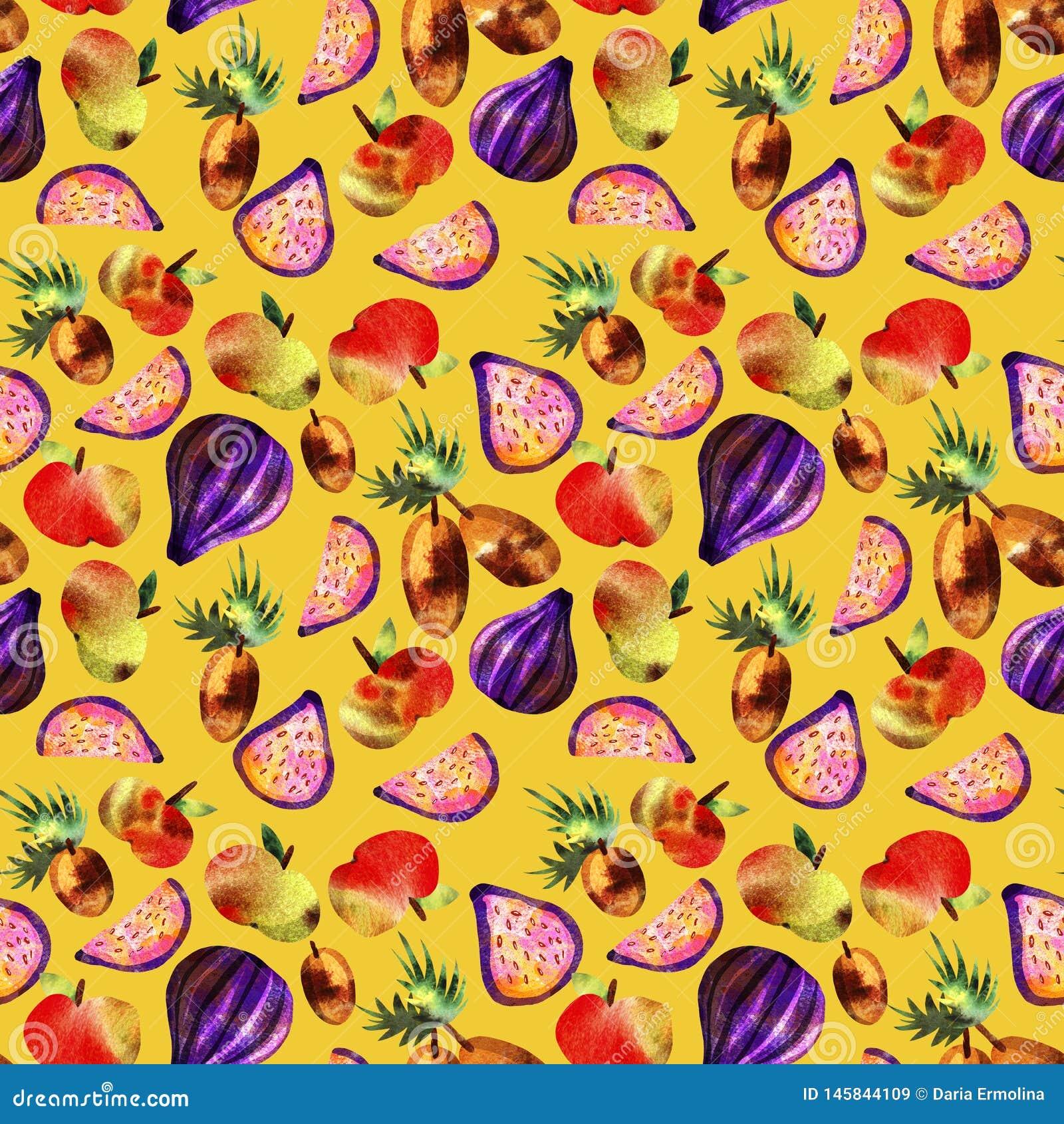 Vegetarisch patroon met vruchten en groenten