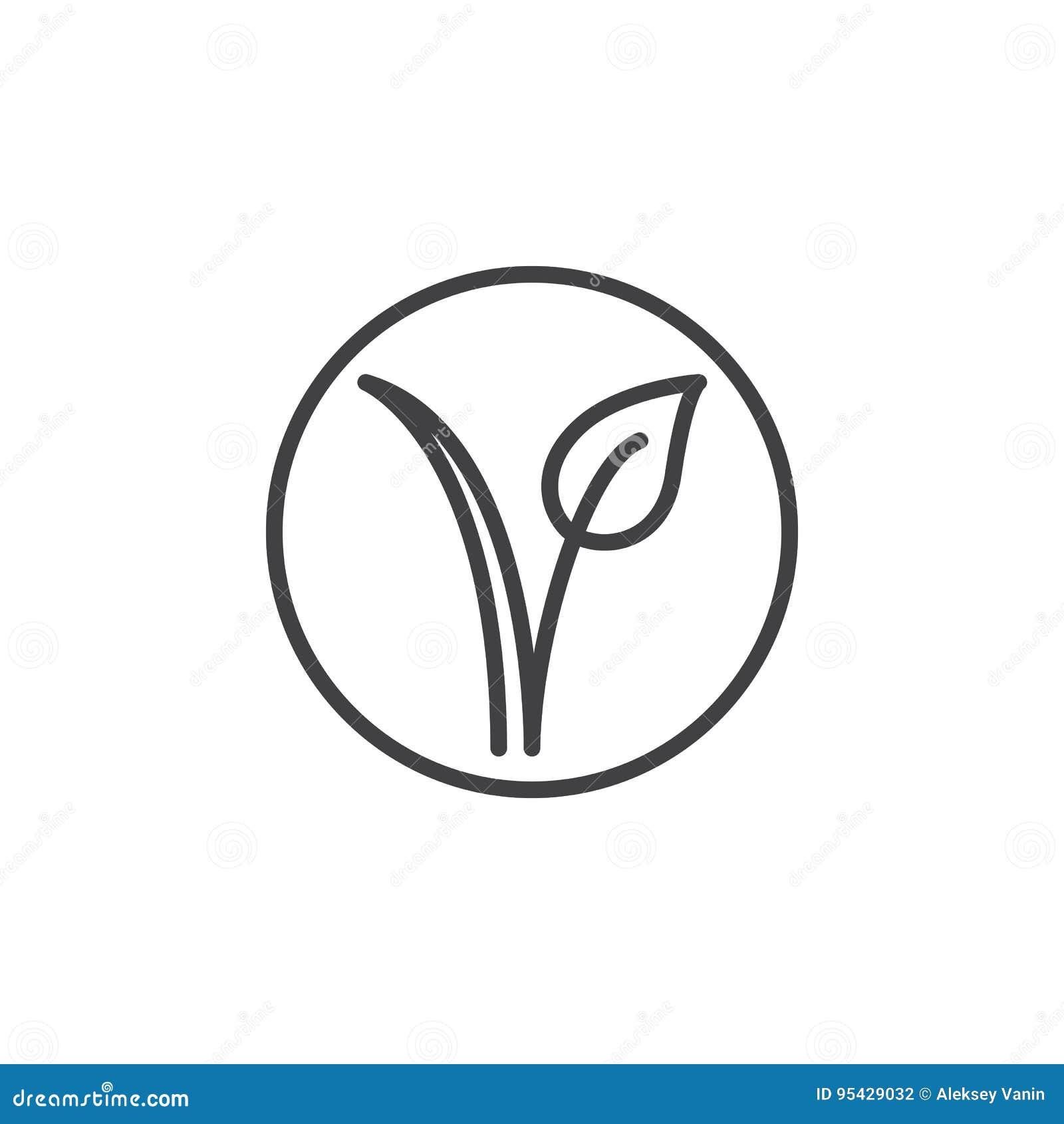 Vegetarisk fläck Växt i en cirkellinje symbol, översiktsvektortecken, linjär pictogram som isoleras på vit