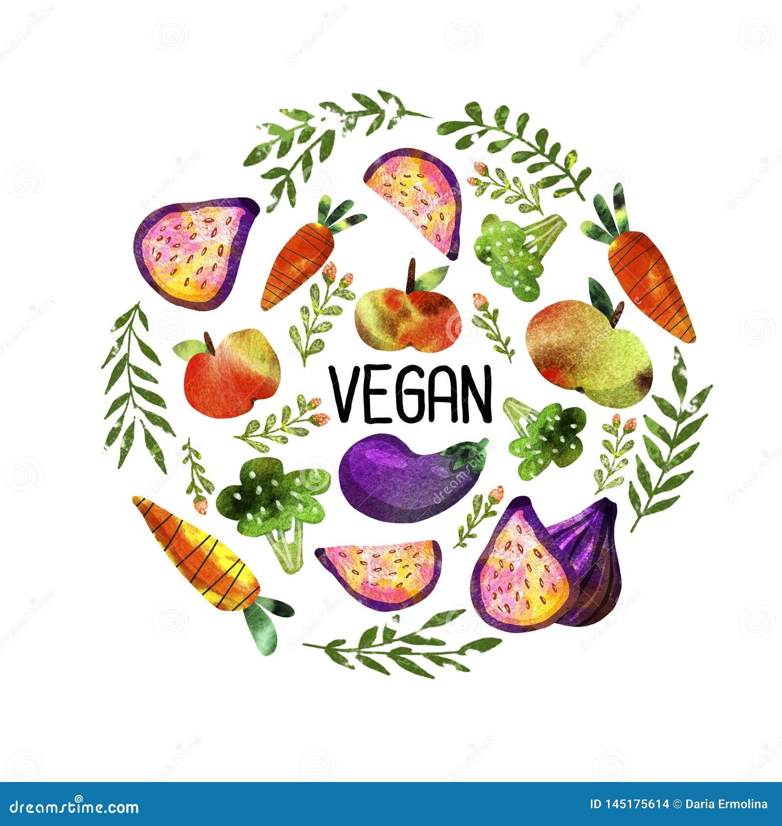 Vegetarisk uppsättning med grönsaker och frukter