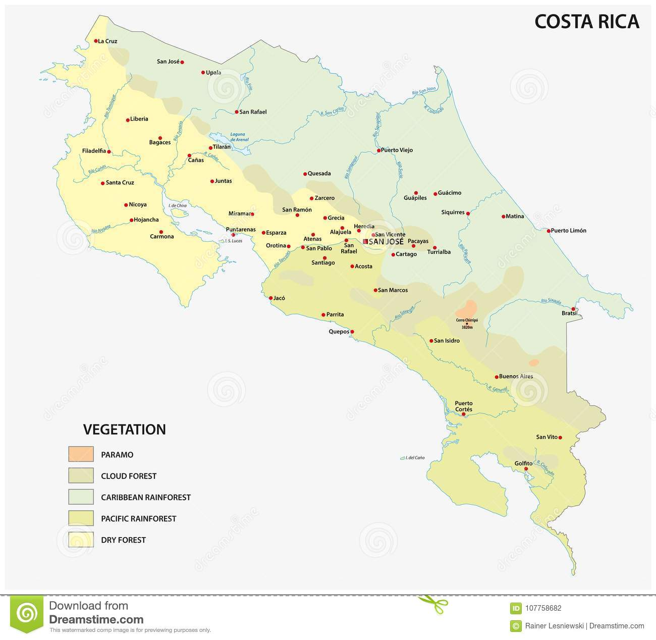 Vegetation vector map of costa rica country with important cities download vegetation vector map of costa rica country with important cities stock vector illustration of gumiabroncs Images