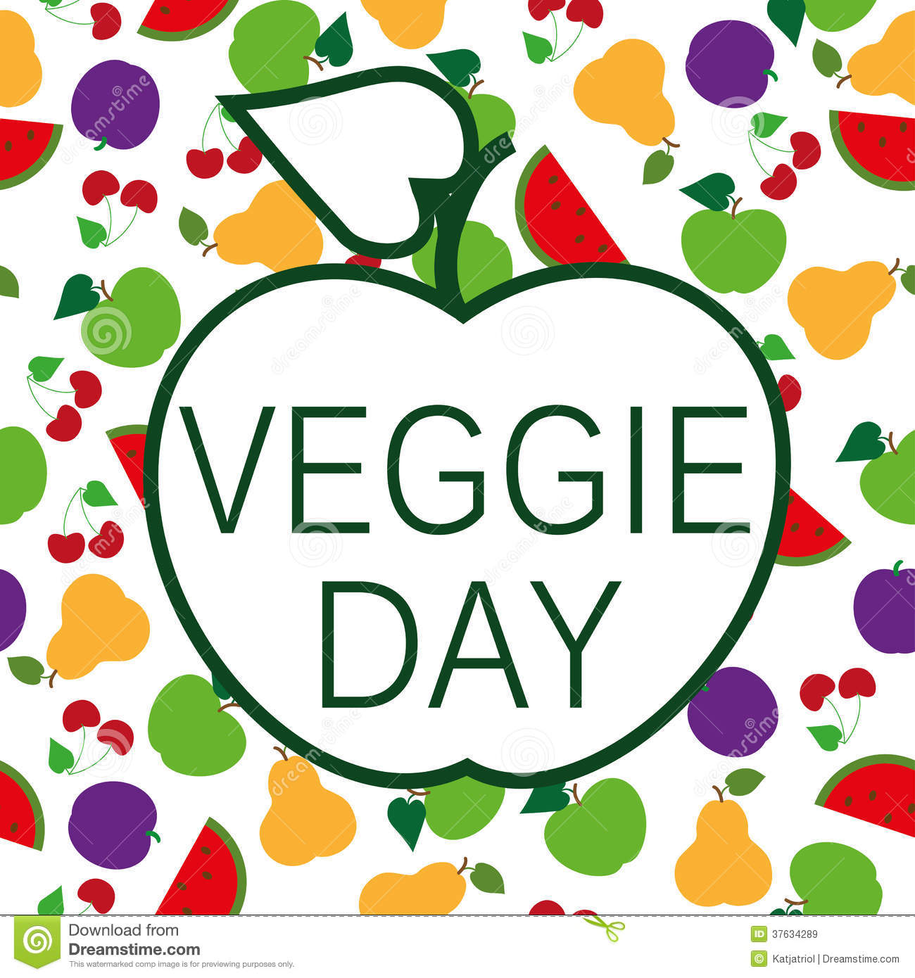 Veggie day text on seamless background of summer fruits.