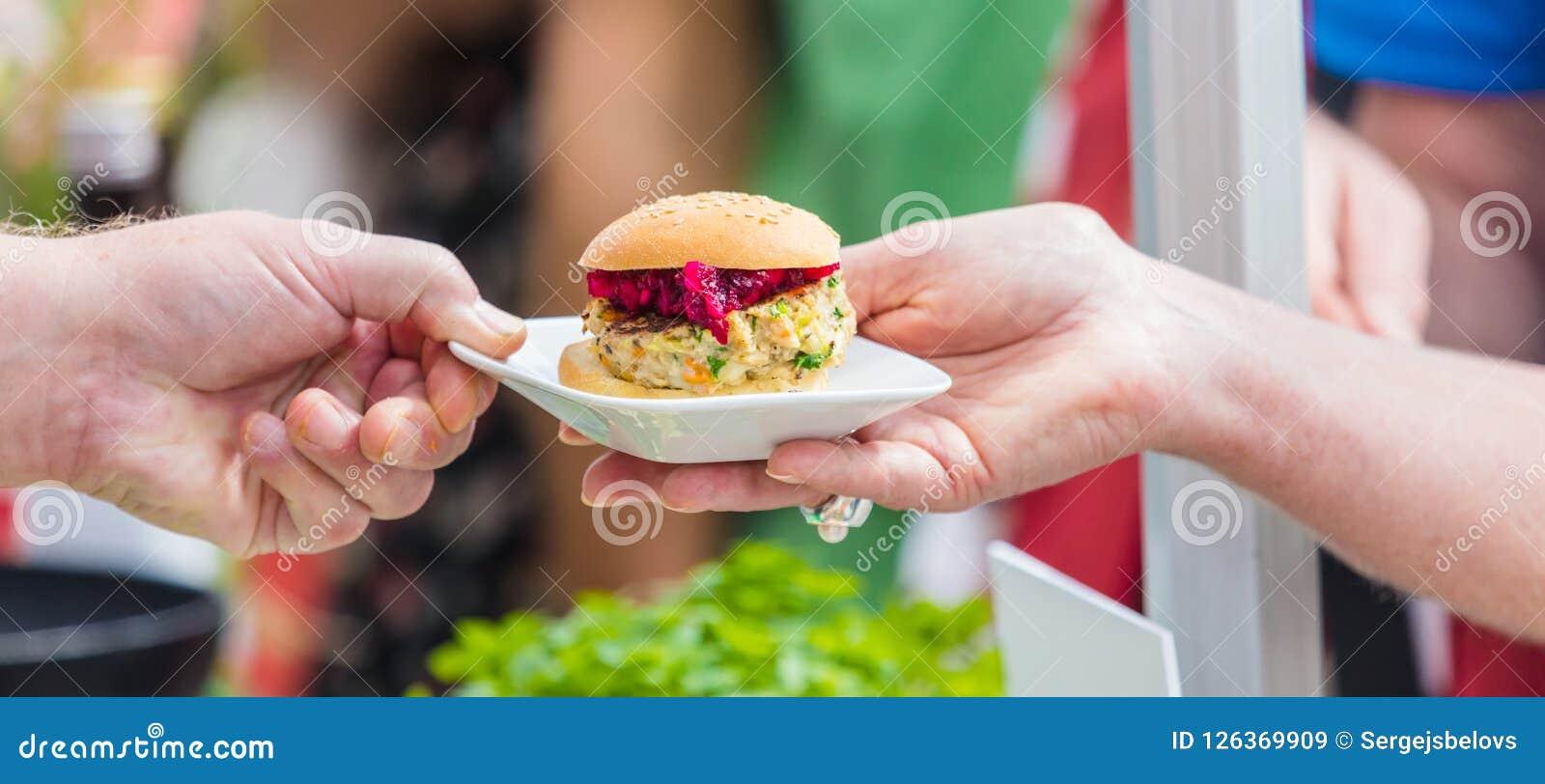 Vegitarian Burger on street food Festival