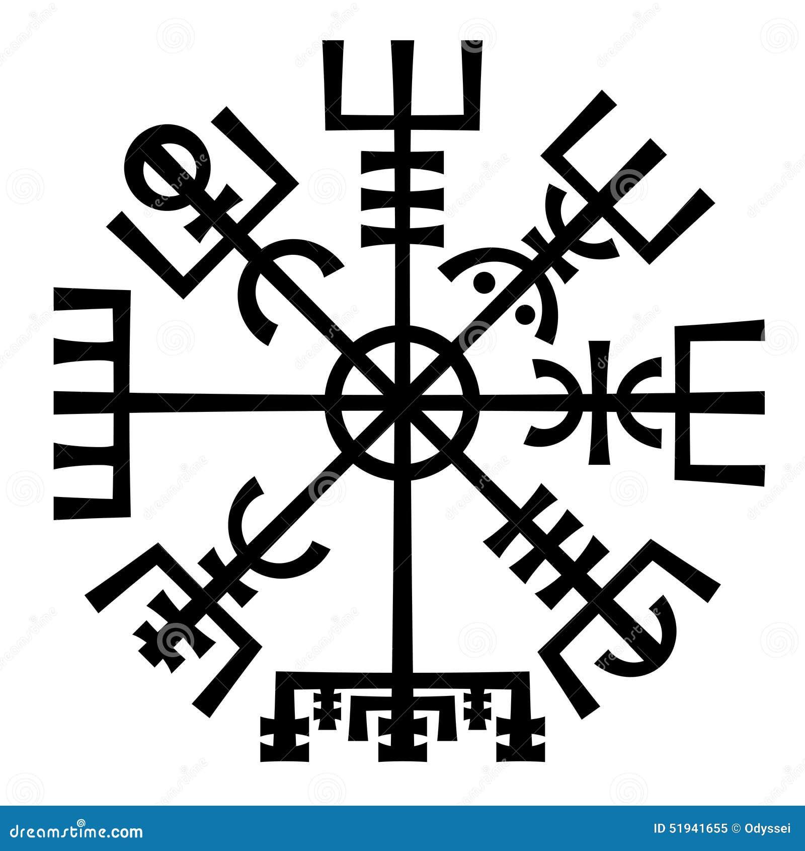Vegvisir Het Magische Kompas Van Vikingen Runen Amulet Vector