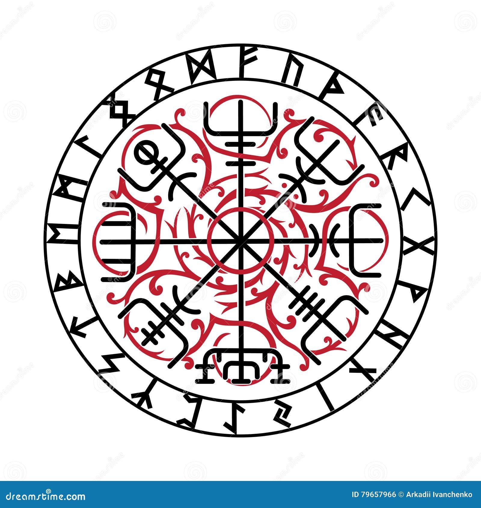 vegvisir la boussole magique de navigation de l 39 islandais antique vikings avec les runes. Black Bedroom Furniture Sets. Home Design Ideas
