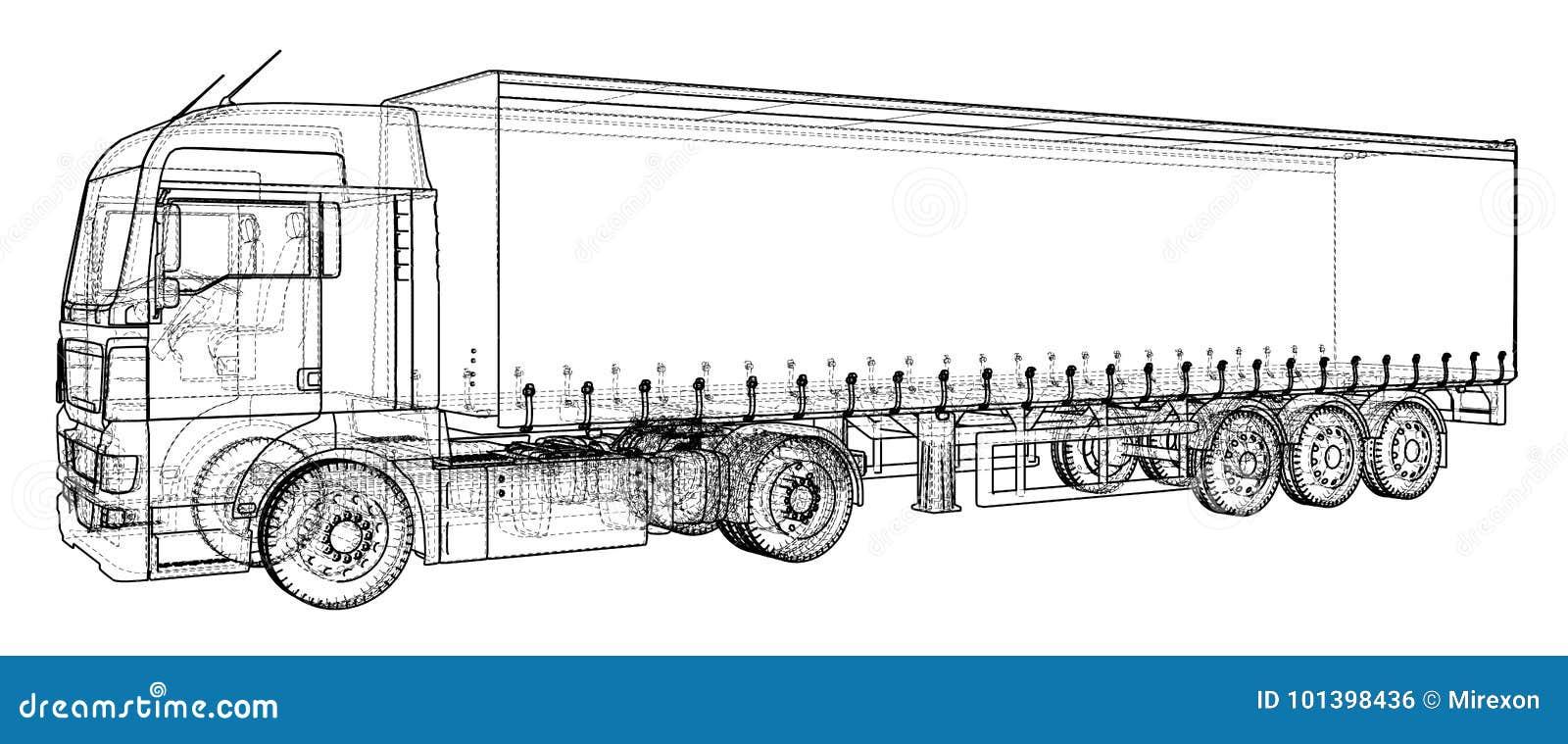 Vehículo de cargo Alambre-marco Formato EPS10 Vector creado de 3d