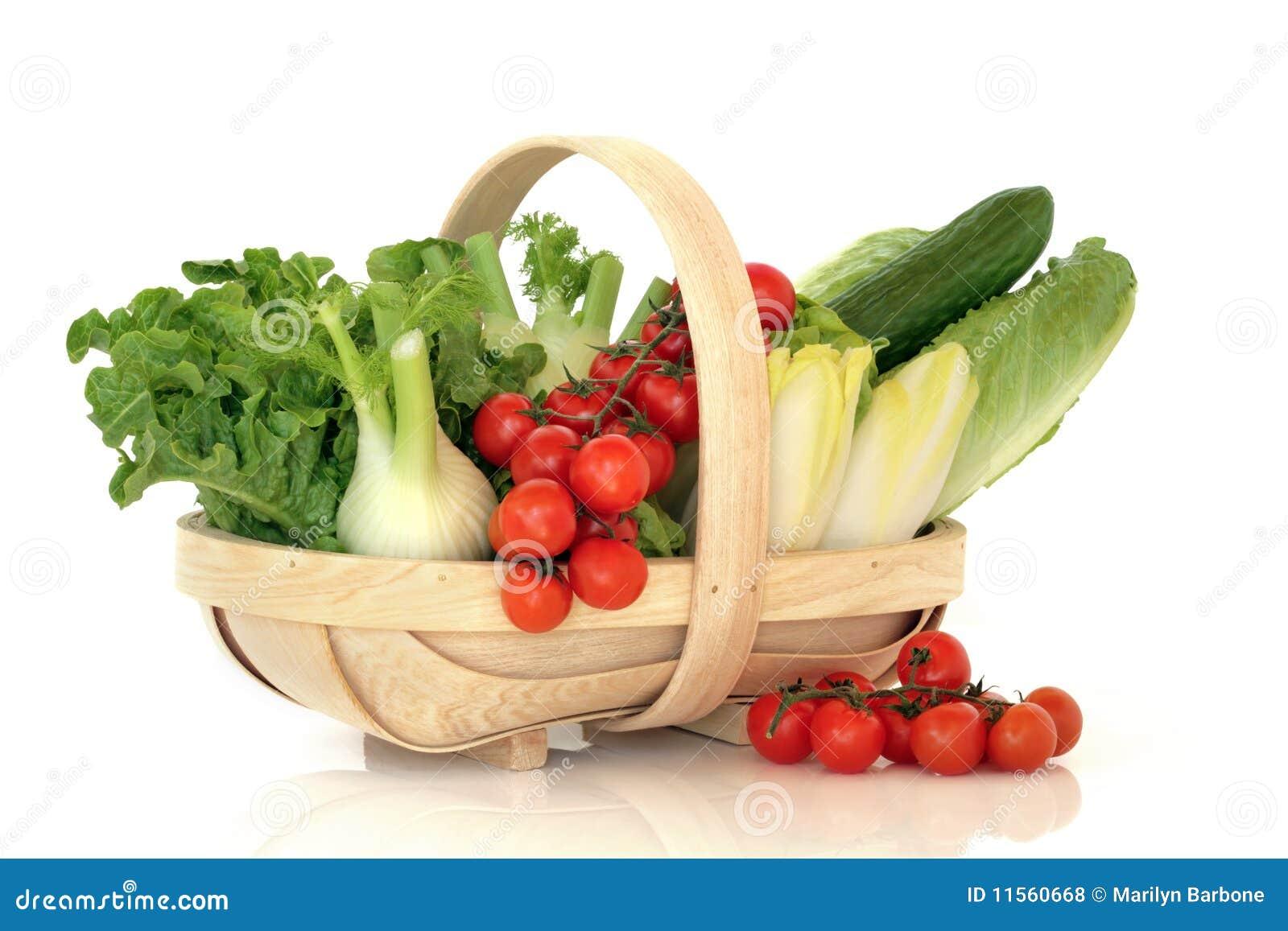 Vehículos de ensalada en una cesta