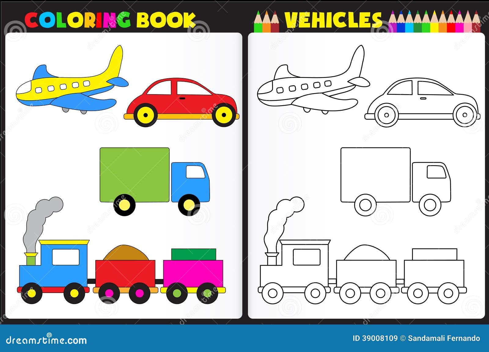 Vehículos del libro de colorear