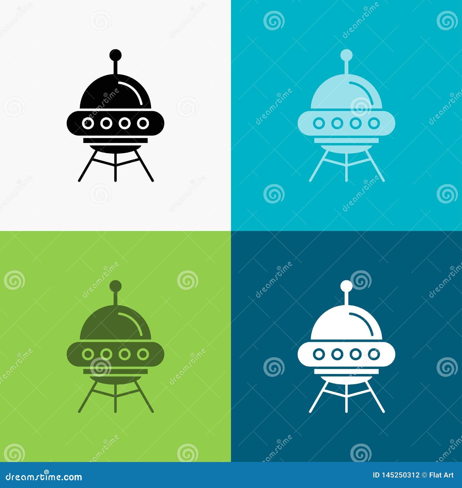 Veh?culo espacial, espacio, nave, cohete, icono extranjero sobre diverso fondo dise?o del estilo del glyph, dise?ado para el web