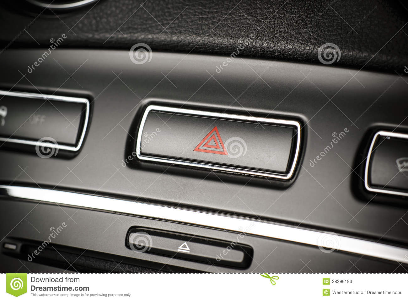 Vehicle, car hazard warning flashers button with visible red tri