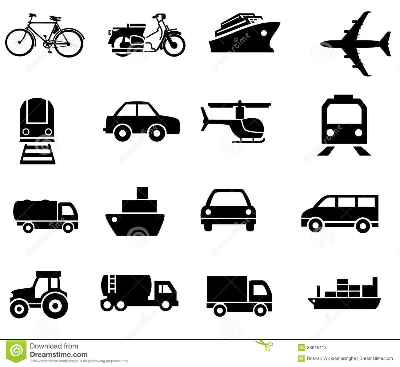 Vehicle transport sillhouetes simple clip arts