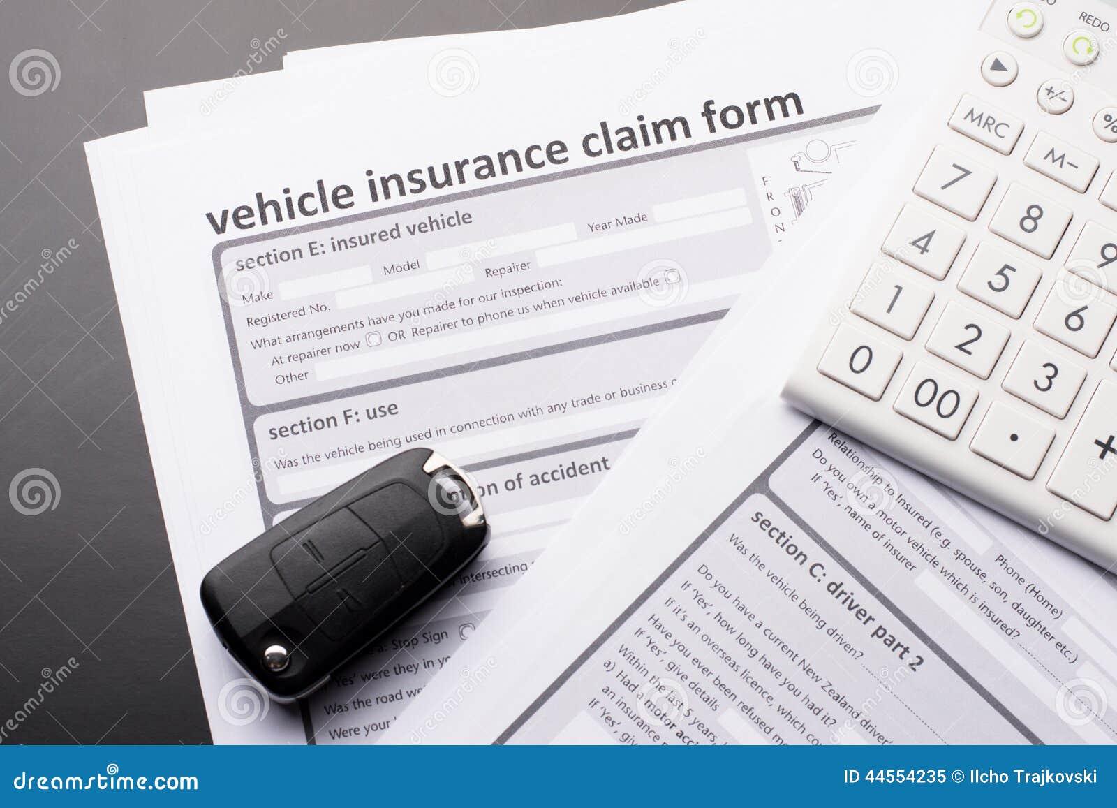 Vehicle Insurance Form Stock Photo Image 44554235