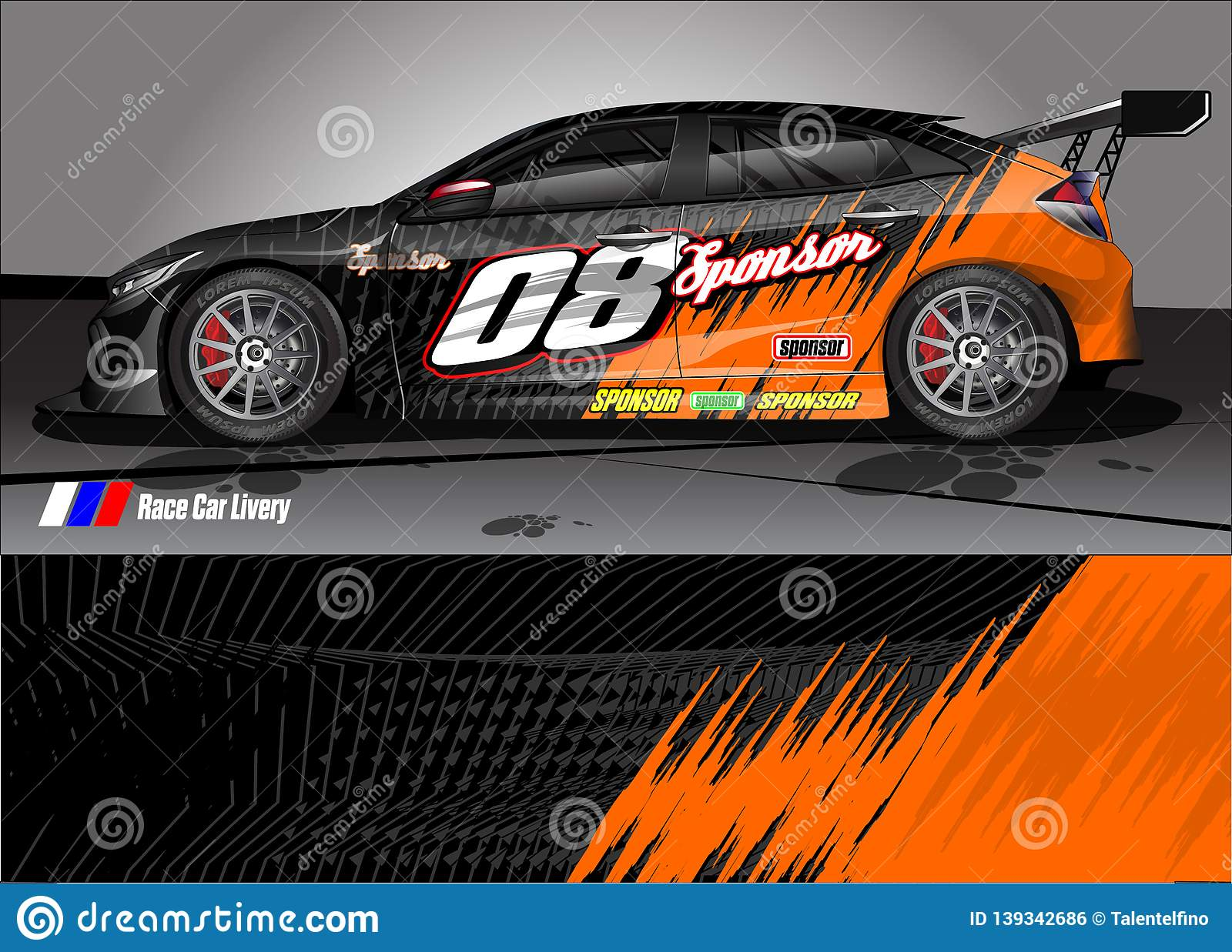 Race car livery graphic abstract grunge background design for vehicle vinyl wrap and car branding
