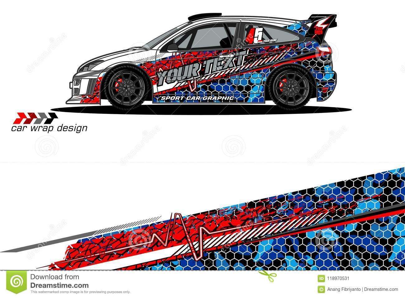Vehicle livery graphic abstract grunge background design for vehicle vinyl wrap and car branding