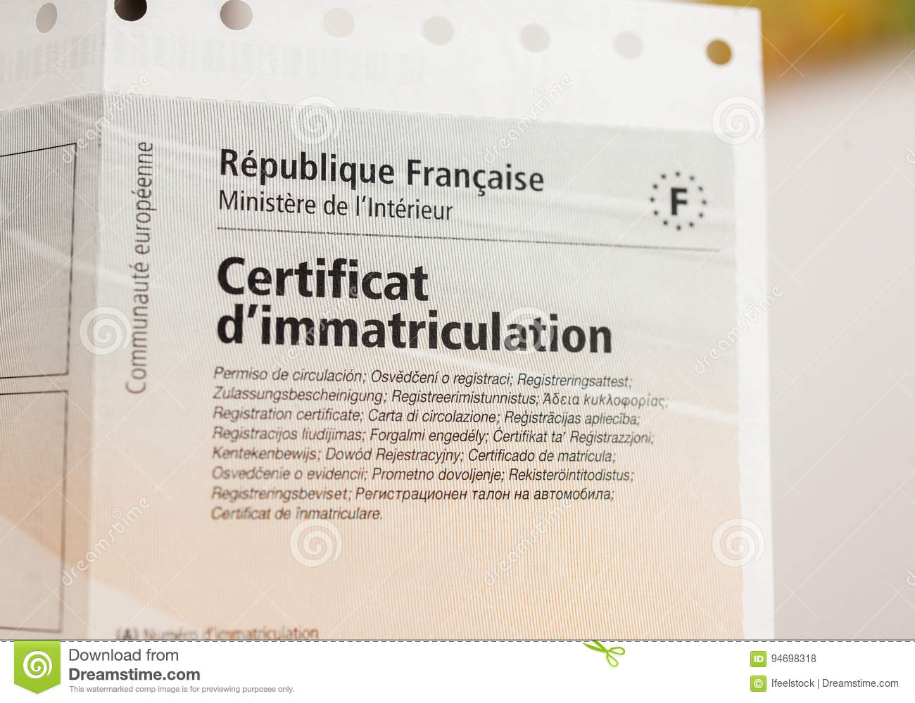 carte grise certificat d immatriculation Vehicle Registration Certificate Certificat D`immatriculation K