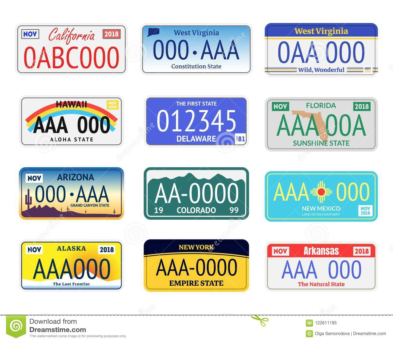 Vehicle Registration Number Plates Set Include of Arizona, Alaska and Colorado. Vector illustration of Transportation Information Signs
