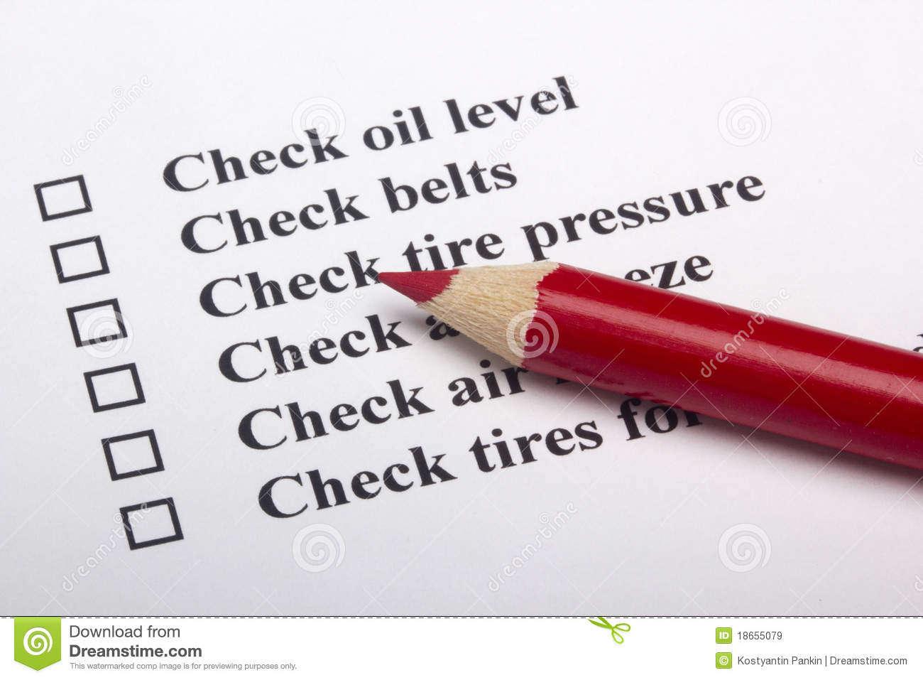 vehicle safety checklist royalty free stock images