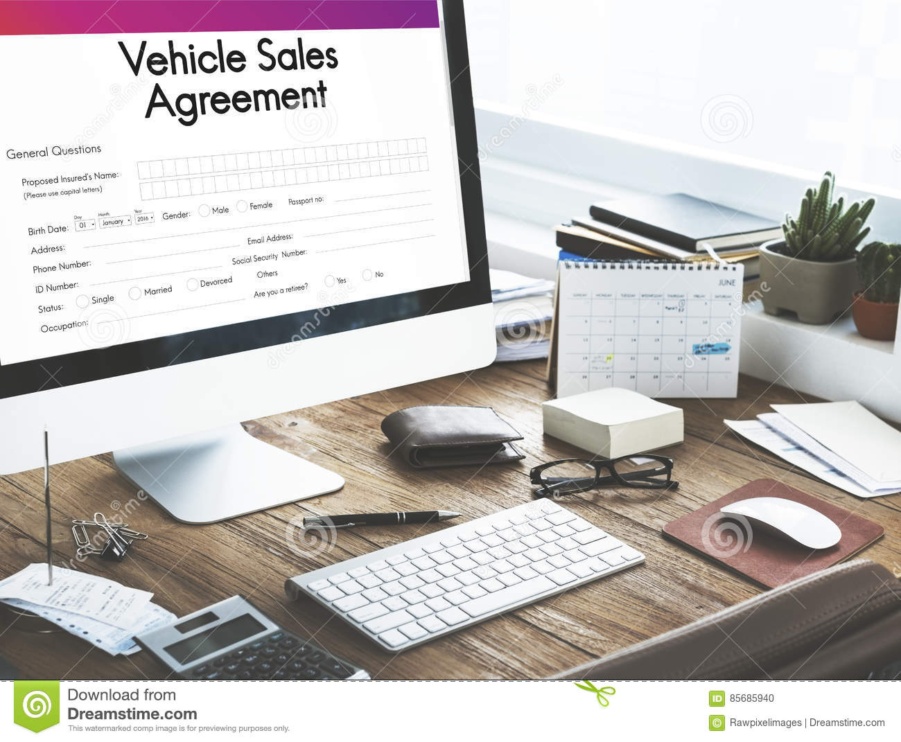 vehicle sales agreement form concept stock photo image of dress