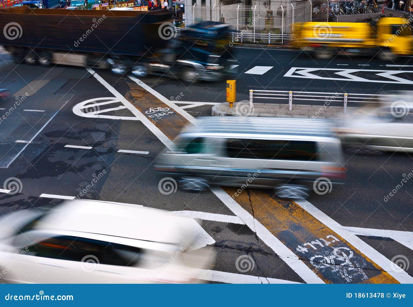 Vehicles running in city