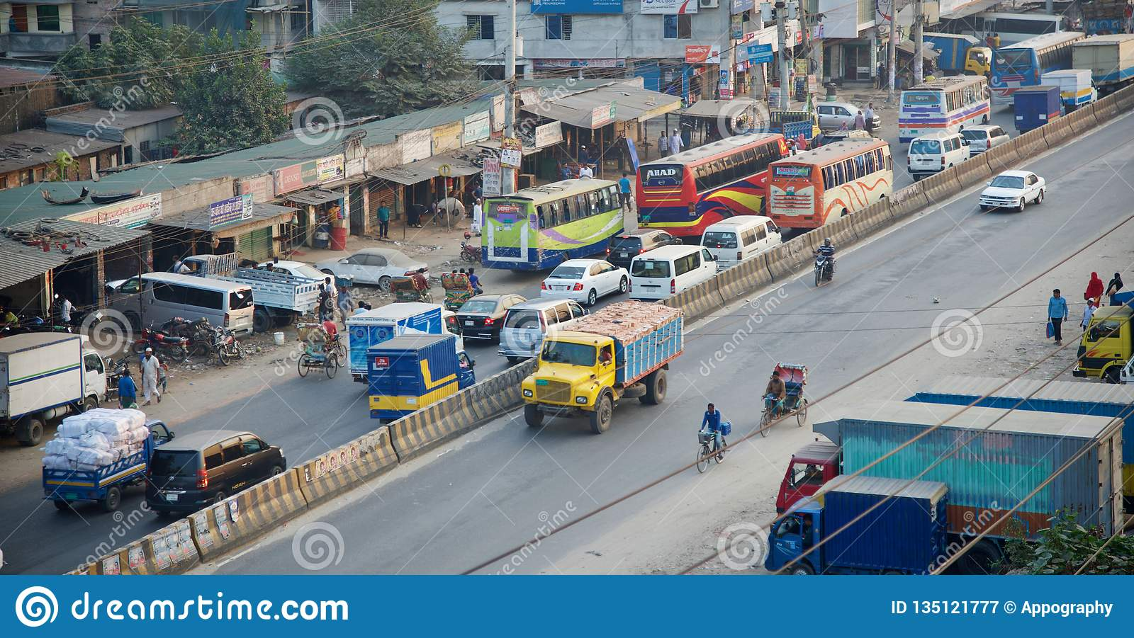 A busy highway in Dhaka city
