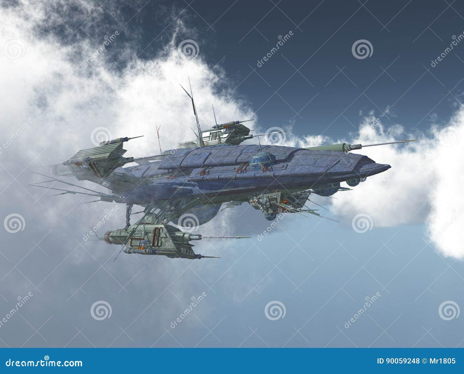 Veicolo spaziale enorme fra le nuvole