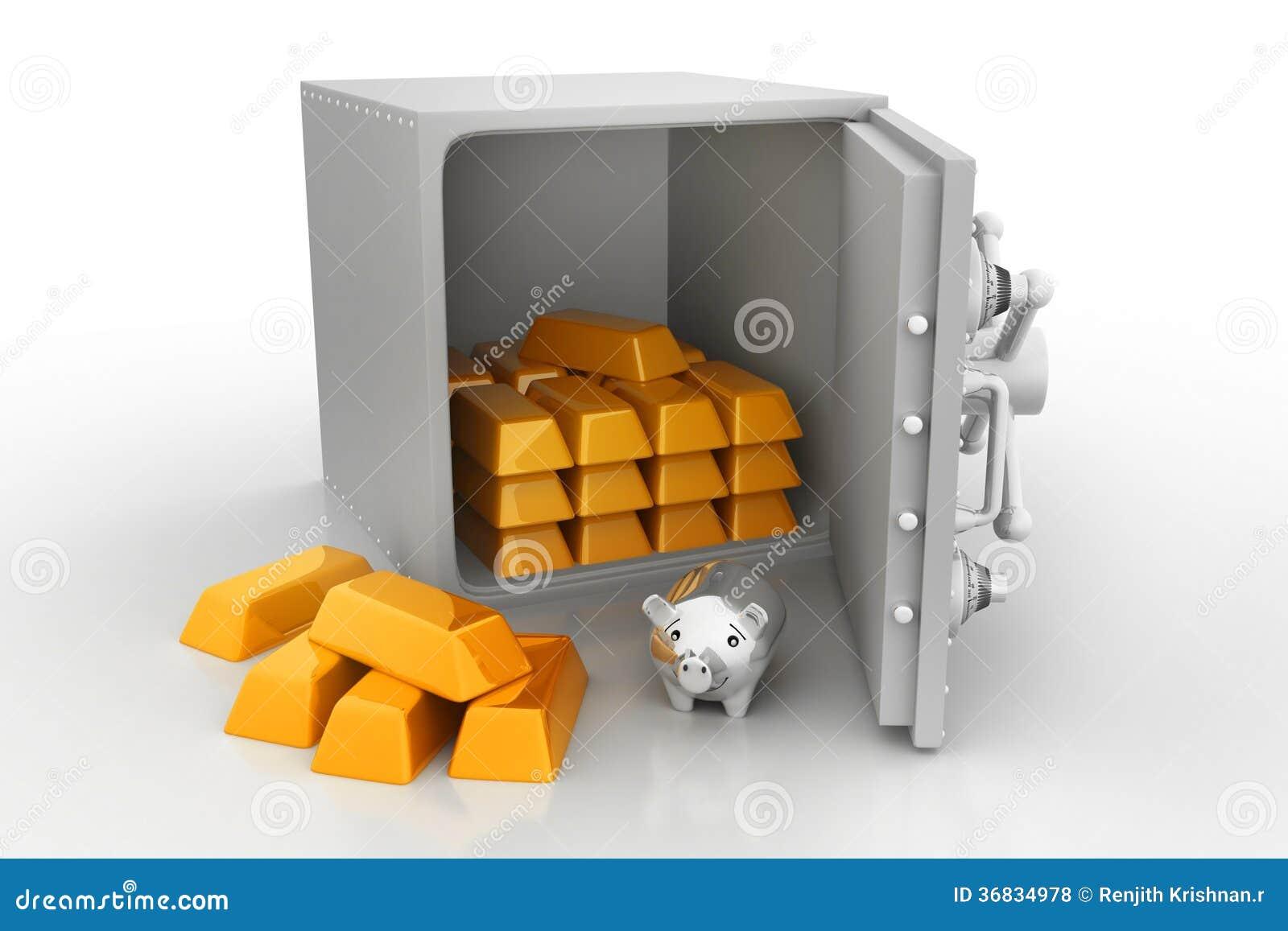 Kast Met Slot : Veilige kast met gouden bars stock foto afbeelding bestaande uit
