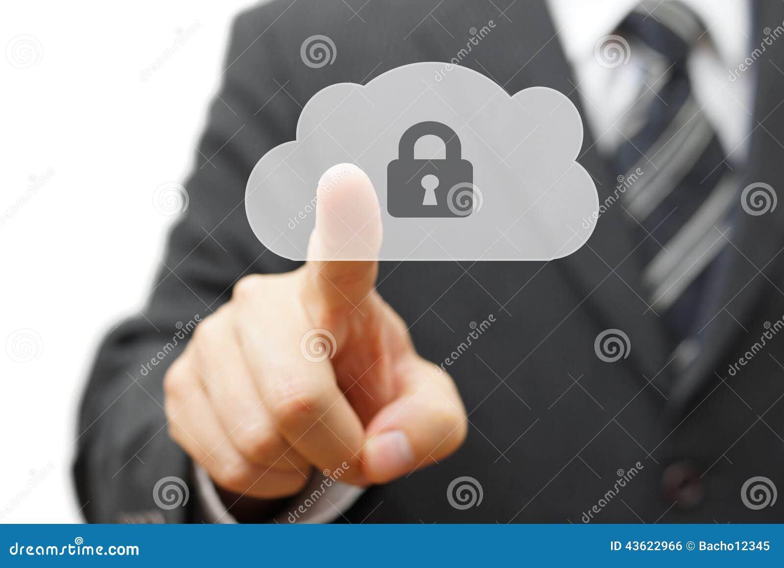 Veilige wolk en online verre gegevens zakenman dringende wolk ic
