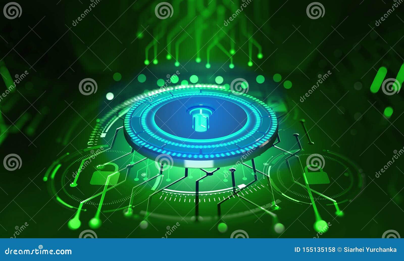 Veiligheid online Gouden Tekst op Donkere Achtergrond Digitale sleutel en identificatie