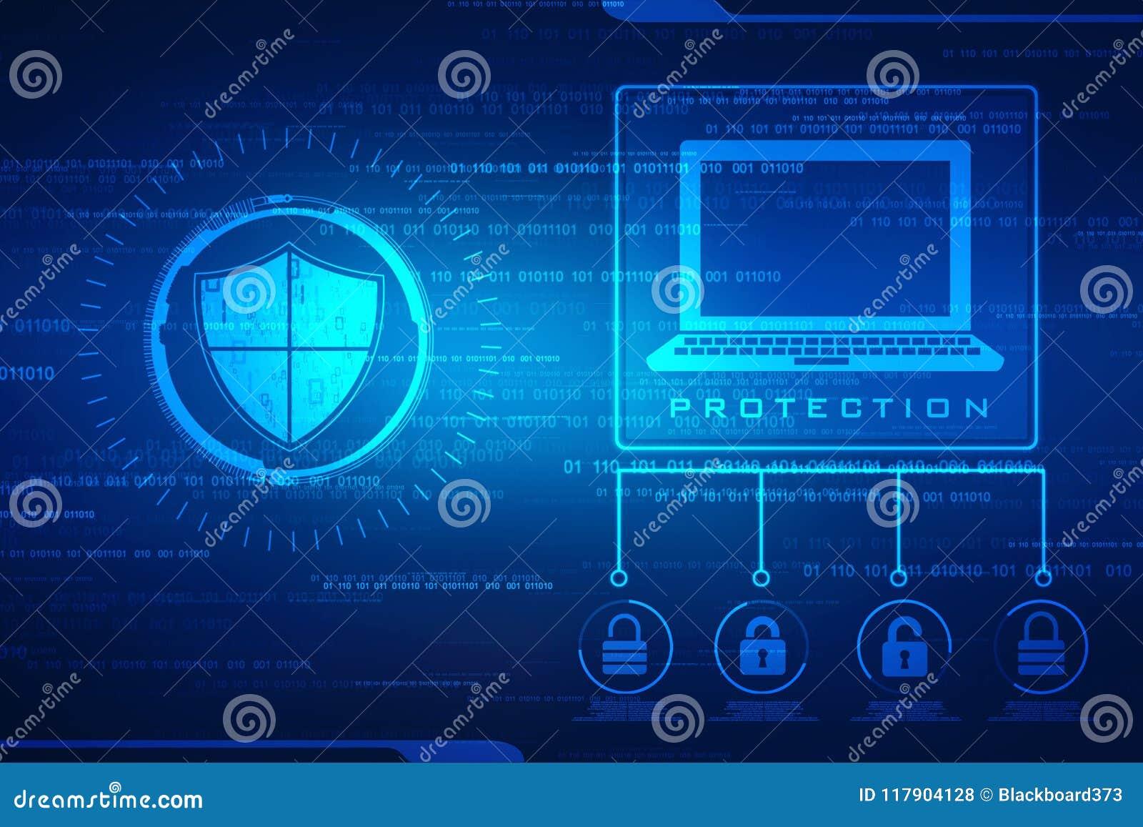 Veiligheidsconcept: schild op het digitale scherm, cyber de achtergrond van het veiligheidsconcept