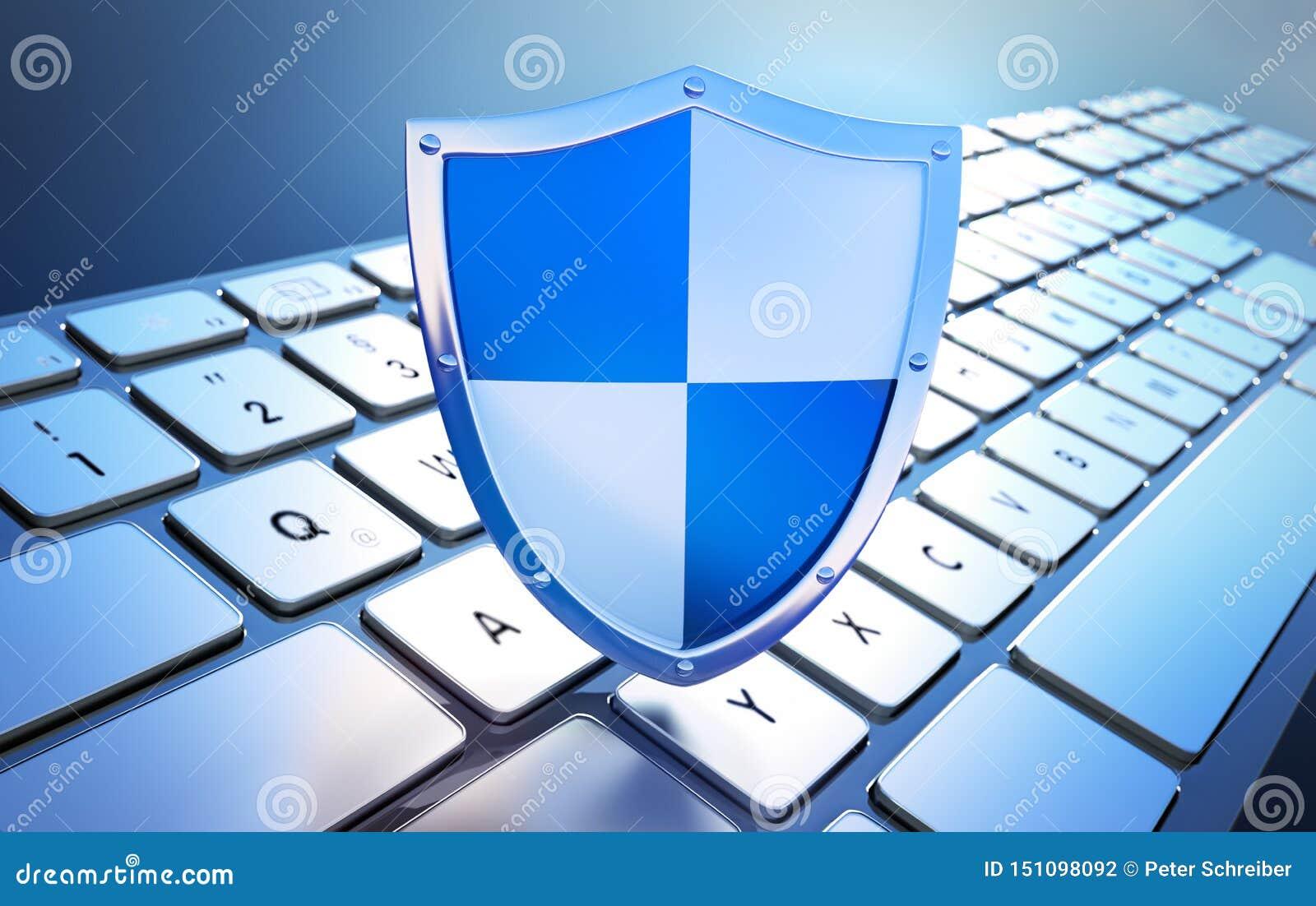 Veiligheidsschild op toetsenbord - conceptencomputerbeveiliging