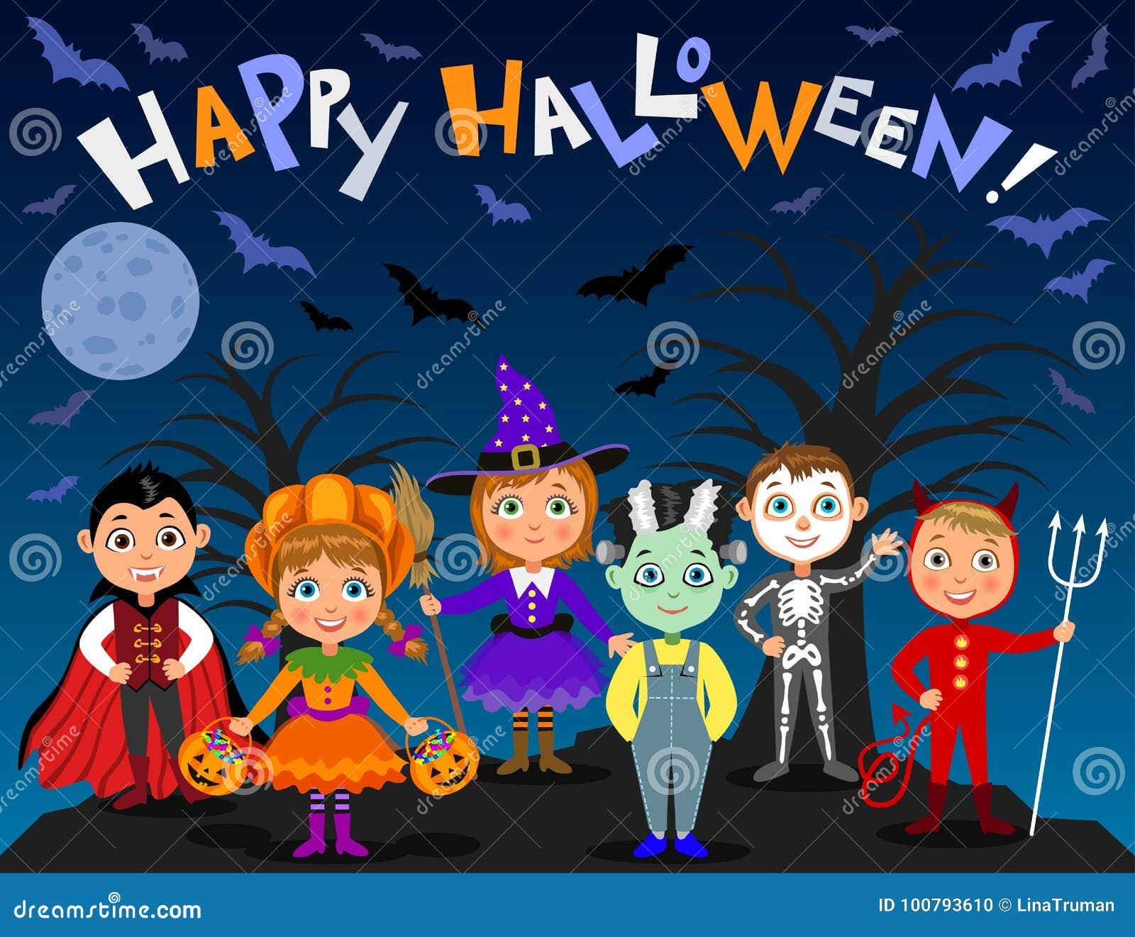 Veille de la toussaint heureuse Enfants dans des costumes de Halloween