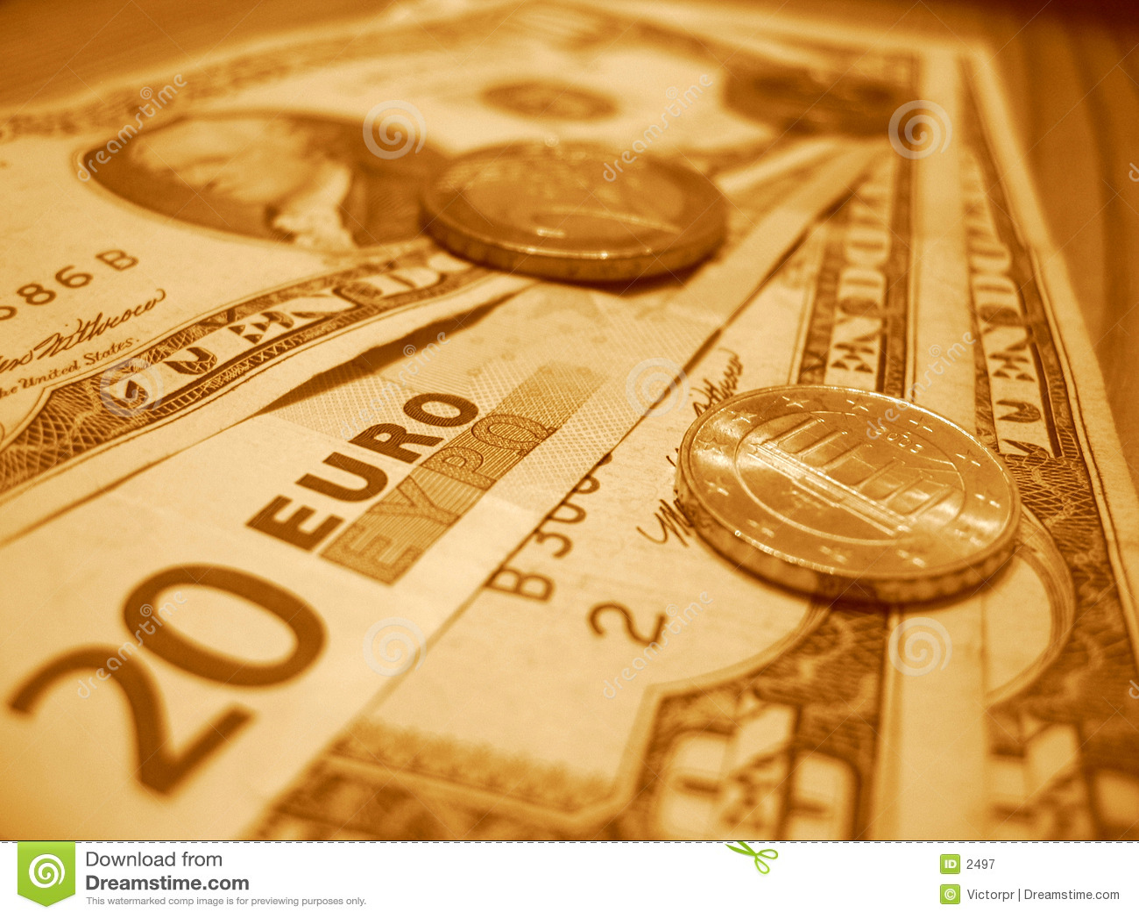 Veinte euros y diez dólares