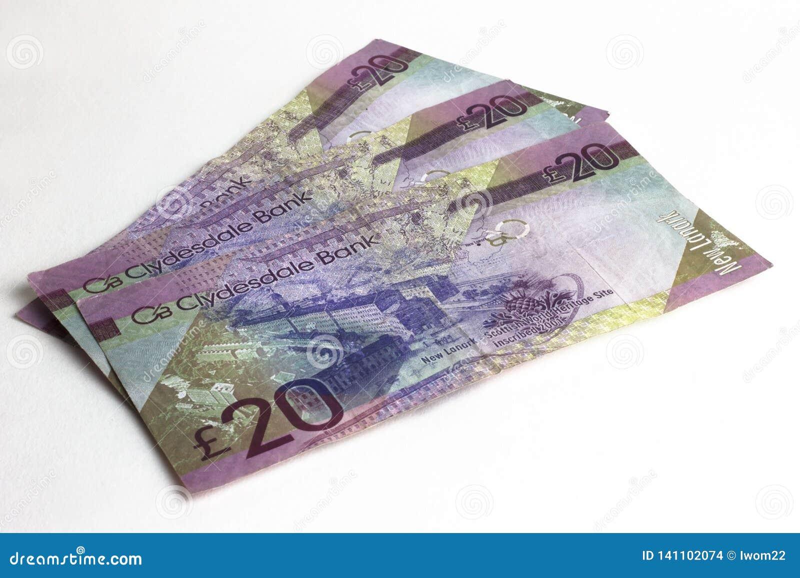 Veinte libras de billetes de banco Dinero escocés