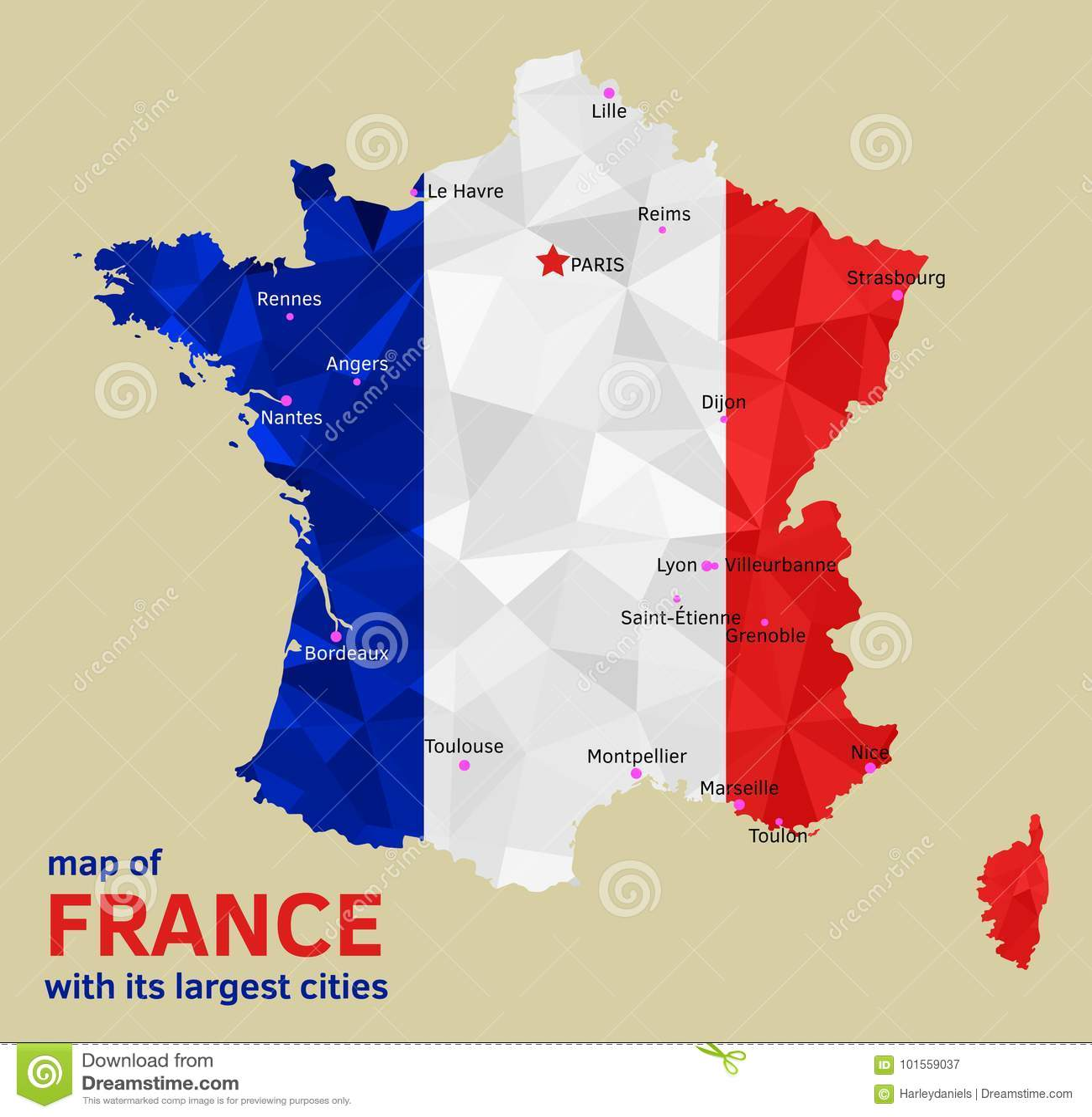 Vektoroversikt Av Frankrike Och Dess Storsta Stader Stock Illustrationer Illustration Av Begrepp Stad 101559037